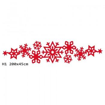H1 200x45 cm Płatki śniegu bieżnik na stół z filcu